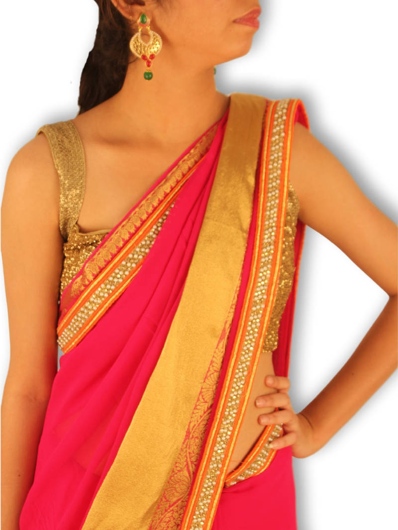 Buy Rani Pink Plain Georgette Saree With Blouse Online