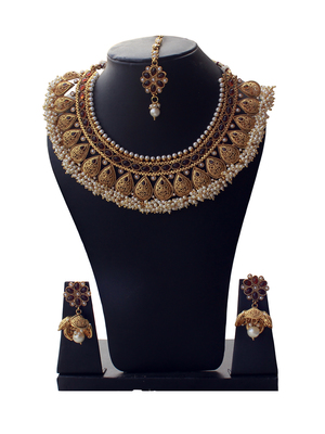 Best-Seller Anqitue Gold Designer Copper Necklace Set with Tiny Pearls