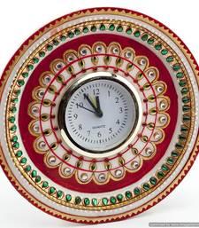 Buy Marvel In Marble - Gold Embossed Kundan Work Alarm Clock_52 wall-clock online