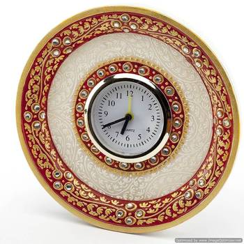 Marvel In Marble - Gold Embossed Round Alarm Clock _54