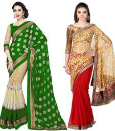 Buy multicolor embroidered faux georgette saree with blouse sarees-combo-sari online