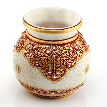 Marvel In Marble - Gold Embossed Round Vase With Kundan Work_66