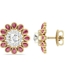 Buy 14Kt Pure Gold The Ruby Blooming Tops By Jewellery Bazaar stud online