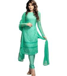 Buy Aqua green embroidered chiffon unstitched salwar with dupatta dress-material online