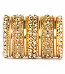 Buy Golden zircon   enamel bangles and bracelets pakistani-jewellery online