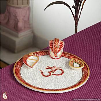 Pooja Thali with Emboss work - OM Marble
