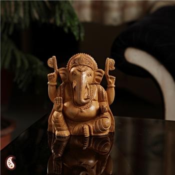 Skillfully craved wooden Ganesh