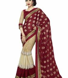 Buy Maroon printed georgette saree with blouse ganpati-saree online