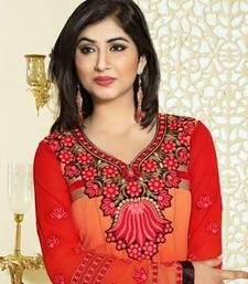 Buy Orange georgette embroidered semi stitiched salwar with dupatta anarkali-salwar-kameez online
