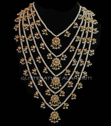 Buy Kundan Pearl Pachlada Rani Haar Necklace black-friday-deal-sale online