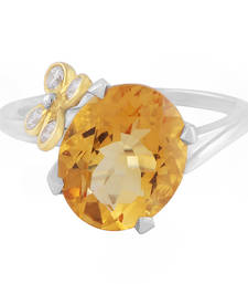Buy Silver Flower Citrine Gemstone Ring Ring online