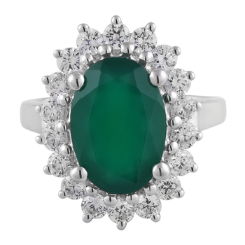 Silver Green Onyx And Cubic Zirconia Studded Ring
