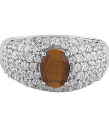 Buy Silver Ring With Tiger Eye And Cubic Zirconia Ring online
