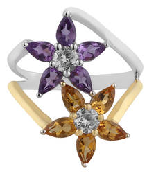 Buy Silver Ring With Amethyst,Citrine And Cz Ring online