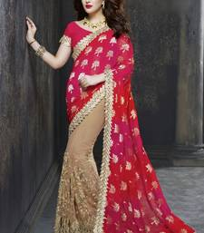 Buy dark rani pink hand woven faux viscose saree with blouse ombre-saree online