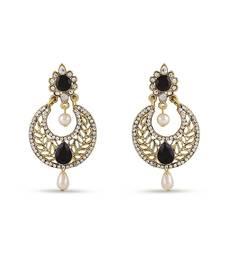 Buy Black Designer Chand Bali Gold Finishing Dangle Earrings hoop online