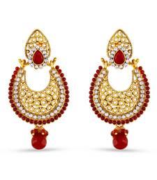 Buy Red Pota Stone Work Designer Dangle Earrings hoop online