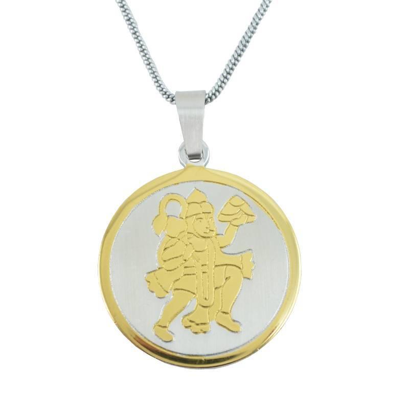 Buy jai shree hanuman 24k yellow gold plating pendant for men and shree hanuman 24k yellow gold plating pendant for men and silver plated chain aloadofball Images