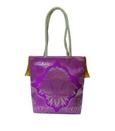 Buy Cute Shaped Silk Gold Kissed Benarasi Handbag (Purple) handbag online