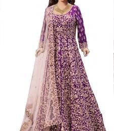 Buy purple silk embroidered unstitche lehenga choli lehenga-choli online