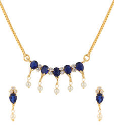 Buy Blue cubic zirconia yellow gold pendants Pendant online