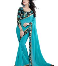 Buy blue plain pure georgette saree with blouse georgette-saree online