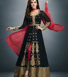 Buy Black embroidered georgette semistitched salwar with dupatta anarkali-salwar-kameez online