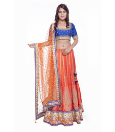 Buy Orange embroidered silk stitched lehenga choli readymade-lehenga-choli online