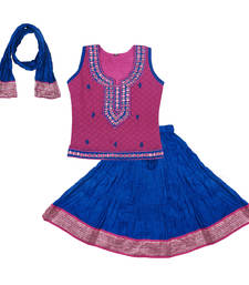 Buy Pink and Blue Cotton lehnaga choli with blouse cotton-lehenga online