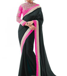 Buy Black Georgette with Pink Border and heavy blouse bollywood-saree online