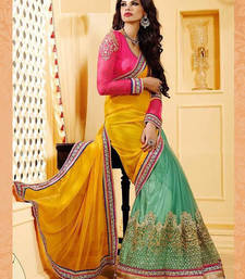 Buy Yellow and pink with rama blue designer saree party-wear-saree online