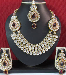 Buy Two Side Brooch Maroon stone Wedding Necklace set necklace-set online