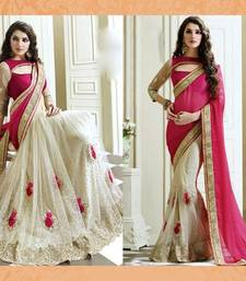Buy Saree india white net and pink pallu embroidered satin saree with blouse satin-saree online