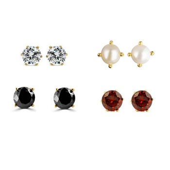 Multi Color Gold Plated Combo of Solataire Stud Earring