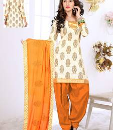 Buy Cream jute embroidered unstitched salwar with dupatta punjabi-suit online