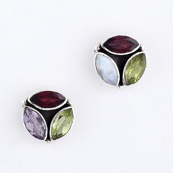 Glittering Silver Earrings With Garnet,Peridot And Rainbow_18