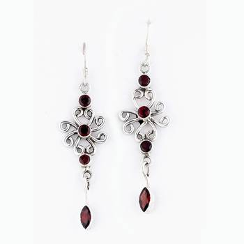 Exotic Handcrafted Pair Of Silver Earrings With Faceted Garnet_27