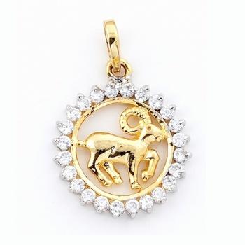 Aries Silver Pendant With American Diamonds_01