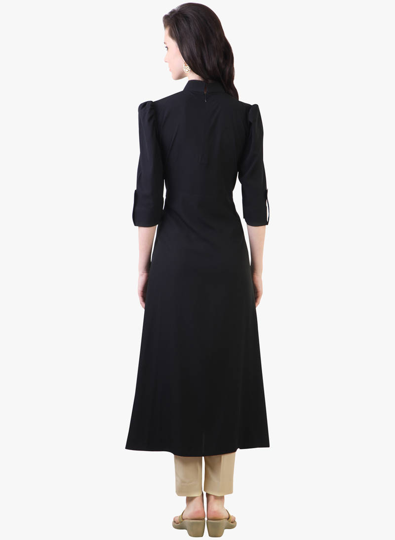 Buy Black Cotton Plain Kurti Online