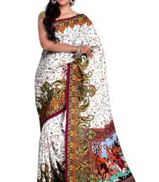 Buy beige printed art silk saree with blouse printed-saree online
