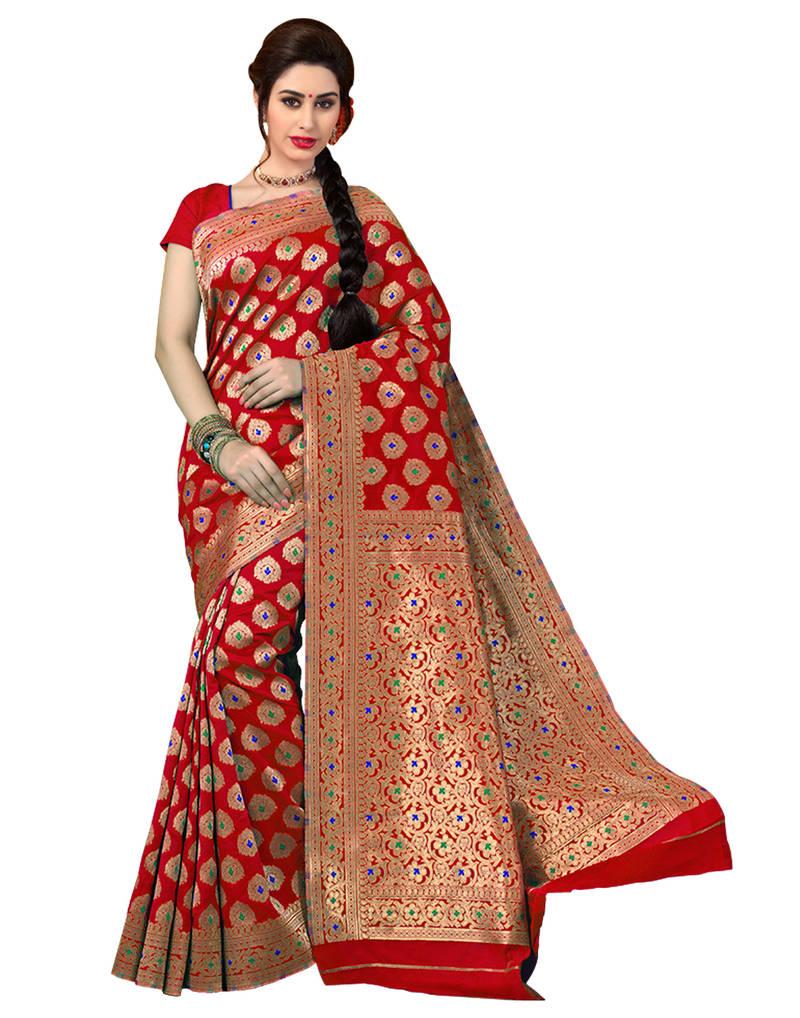 Buy Red Woven Banarasi Saree With Blouse Online