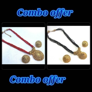 Black and Red Thread Necklace Set Offer