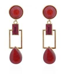 Buy Squarish Crown Blooming Maroon Earrings danglers-drop online