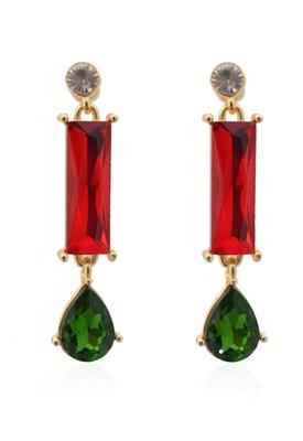 Ravishing Red Green Crystal Earrings