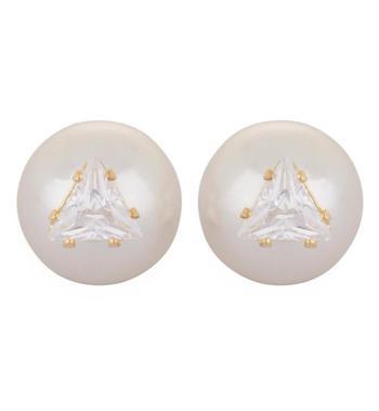 Crystal Cuneate Pearl Stud Earrings