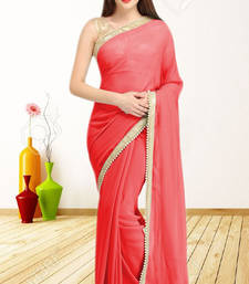 Buy RED plain georgette saree with blouse party-wear-saree online