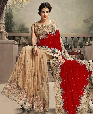 red embroidered velvet saree with blouse