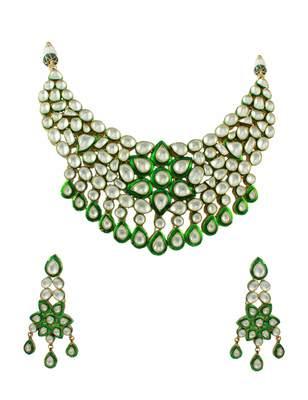 Bridal Green Jadau Kundan Necklace Set Jewellery for Women - Orniza