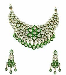 Buy Bridal Green Jadau Kundan Necklace Set Jewellery for Women - Orniza necklace-set online