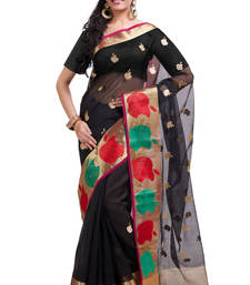 Buy black embroidered cotton saree with blouse kota-silk-saree online